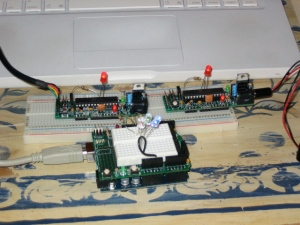 Two BoArduinos and a Arduino with ProtoShield Daughter Board