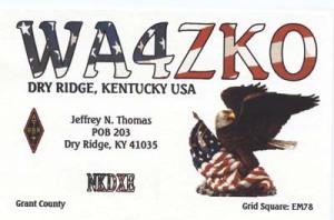 WA4ZKO's QSL Card