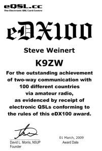 K9ZW eQSL eDX100 Award