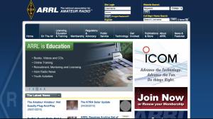 ARRL New Website Browser Image - on Landing on Page