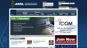 ARRL New Website Browser Image - on Landing on Page