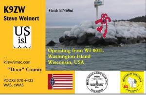 K9ZW Washington Island WI001L QSL Frontside Image