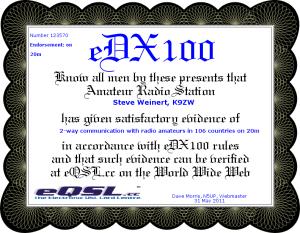 eDX100 20m K9ZW