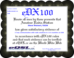 eDX100 SSB K9ZW