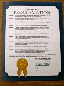 Mayoral Proclamation - Manitowoc Amateur Radio Week 2011