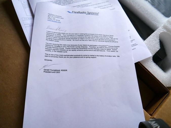 Signed Letter from Gerald K5SDR