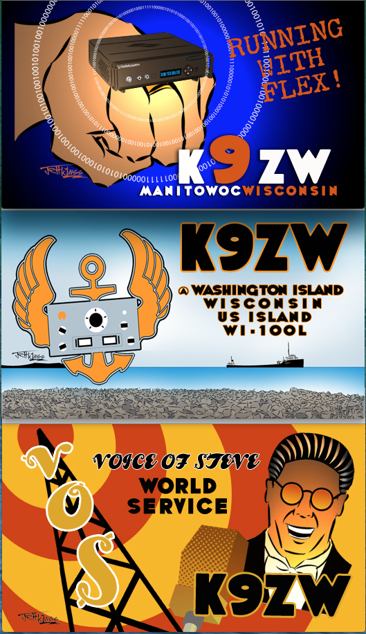 Jeff K1NSS Eyeball QSO Card Designs for K9ZW