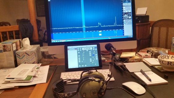 Working DX from my home office desk!  Radio is 120 ft away in the former wine cellar.