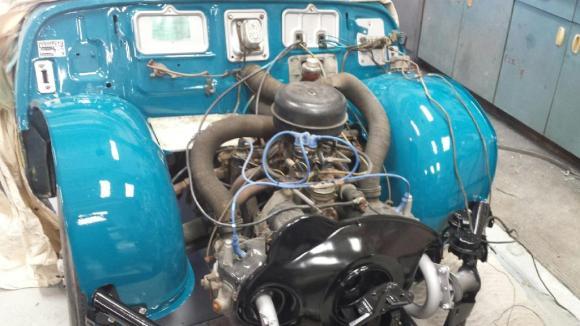 Panhard PL-17 engine shroud and inner fenders painted